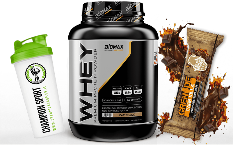 BIOMAX 2.27KG+חטיף חלבון פרימיום+שייקר צ'מפיון