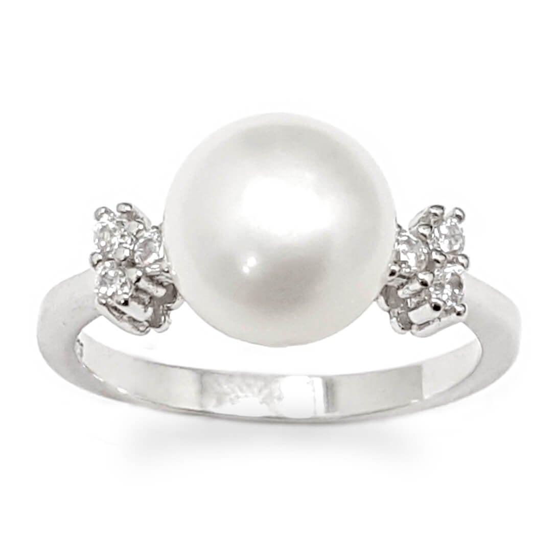טבעת מכסף משובצת פנינה לבנה וזרקונים RG5961 | תכשיטי כסף 925 | טבעות עם פנינה