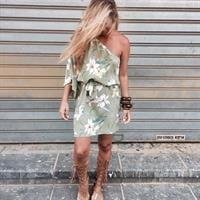 שמלת בברלי פרח ירוק