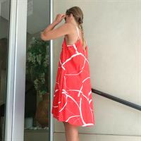 שמלת גופייה אדום מודפס
