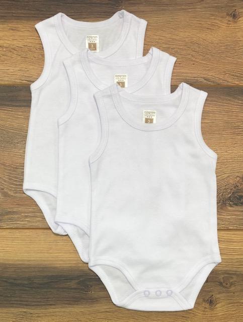 מארז 3 בגדי גוף גופיה לבן