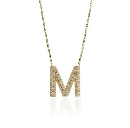 """שרשרת זהב אות עם זרקונים """"M"""""""