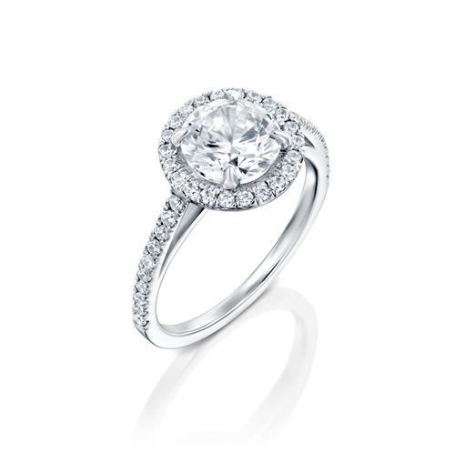 טבעת אירוסין זהב לבן 14 קראט משובצת יהלומים JANNA HALOW