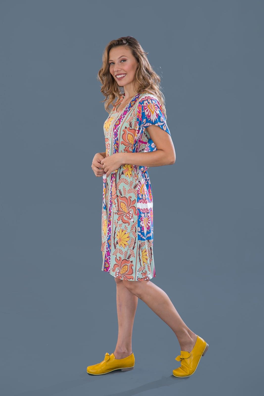 שמלת פרפר עם הדפס ירוק פרחים