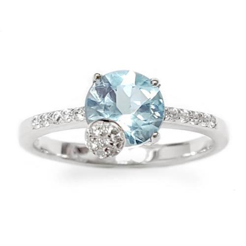 טבעת מכסף משובצת אבן טופז כחולה וזרקונים RG1568