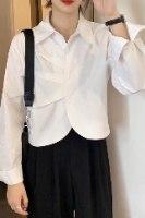חולצה מכופתרת קפלים בטן לבנה