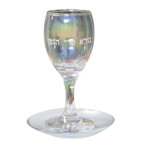 """גביע קידוש זכוכית עם תחתית והדפסה 15 ס""""מ"""