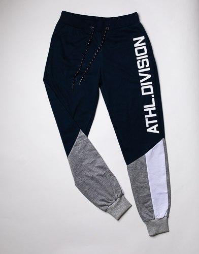 מכנס פרנצ'טרי ארוך שילוב כיתוב גבר נייבי