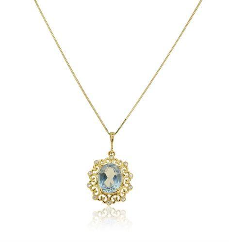 שרשרת ותליון זהב 14 קרט משובצת אבן חן בלו טופז ויהלומים 0.08 קראט