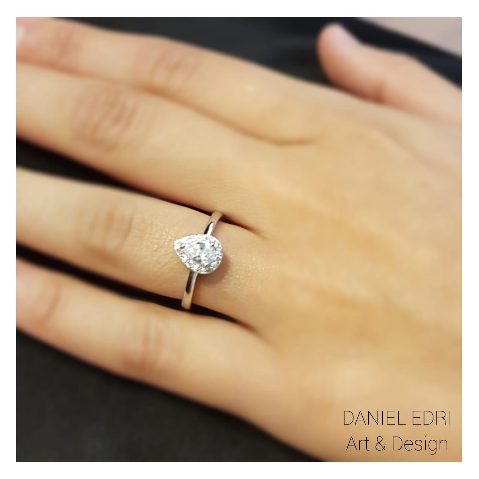 טבעת טיפה משובצת- כסף
