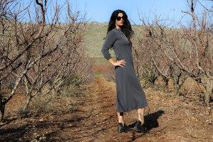 שמלה ארוכה חצי גולף עם כיסים מריב קופרו אפור