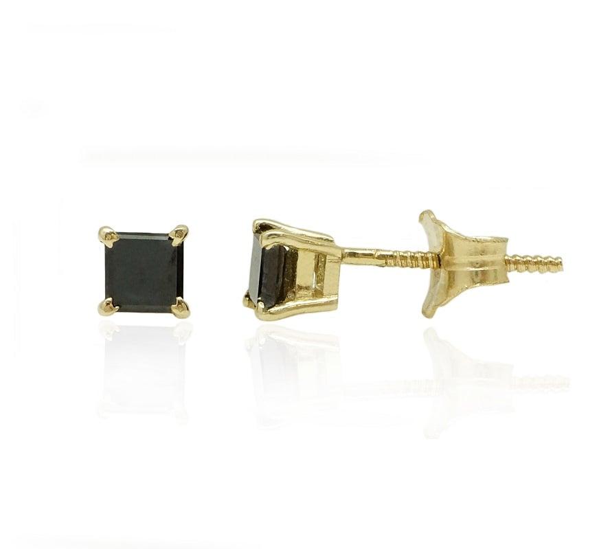 עגיל זהב לגבר עם יהלום שחור מרובע 0.30 קראט - עגיל בודד יהלום שחור