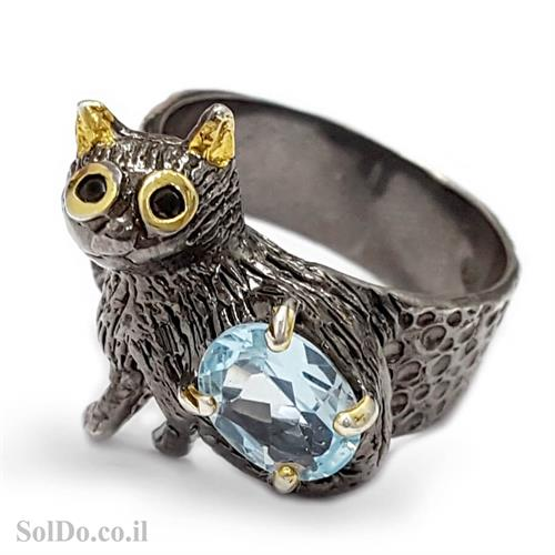 טבעת מכסף מעוצבת חתולה משובצת אבן בלו טופז RG6023 | תכשיטי כסף 925 | טבעות כסף