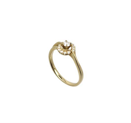 טבעת אירוסין זהב צהוב 14K יהלום מרכזי ויהלומים בהיקף MY10130120210