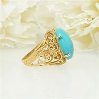 טבעת זהב וינטאג' משובצת טורקיז גדולה