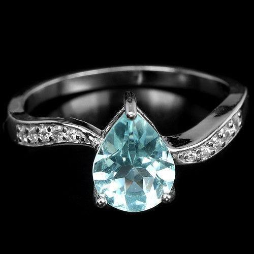טבעת כסף משובצת טופז כחול וזרקונים RG8325 | תכשיטי כסף 925 | טבעות כסף