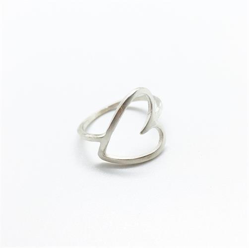 טבעת לב רטרו כסף