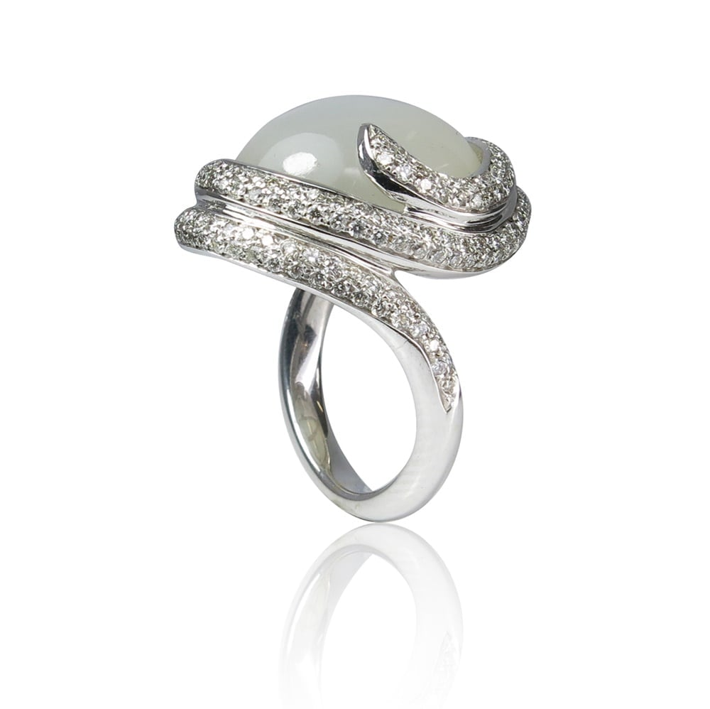 טבעת זהב 14K משובצת אבן מונסטון ויהלומים 1.30 קראט