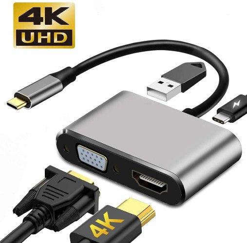 תחנת עגינה Type C עם חיבורים USB3.0 , VGA , HDMI 4K , Type C-PD