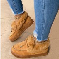 מגפיים שטוחות פרוות קטיפה