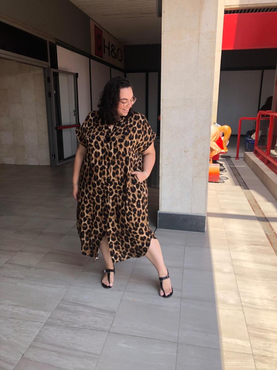 שמלת רוקסן מנומר חום