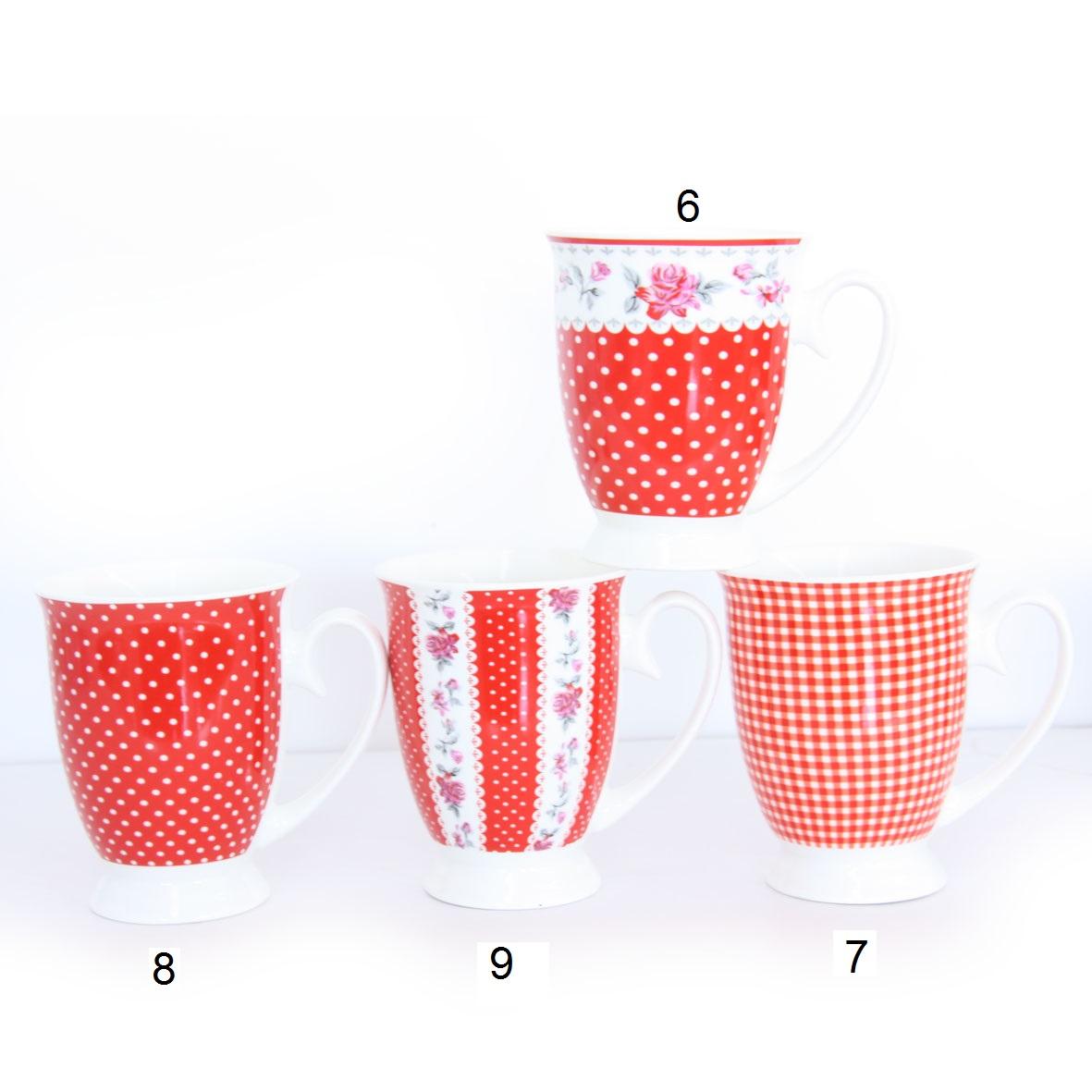 """סט 6 כוסות צבע אדום דגם """"הסגנון הביתי"""""""