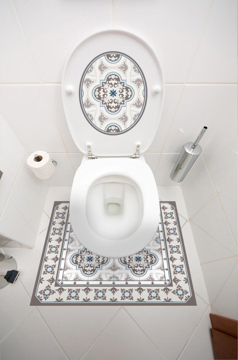 עיצוב איזור האסלה- מדבקה (39 ₪)  שטיחון  (88 ₪) סט (119 ₪) נווה צדק TIVA DESIGN