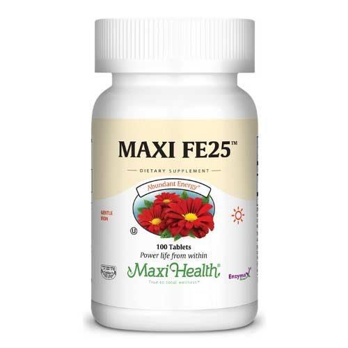 """-- ברזל עדין FE25 -- מכיל 100 טבליות, 25 מ""""ג,  Maxi Health"""