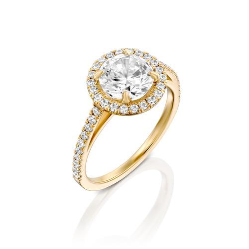 טבעת אירוסין זהב צהוב 14 קראט משובצת יהלומים JANNA HALOW