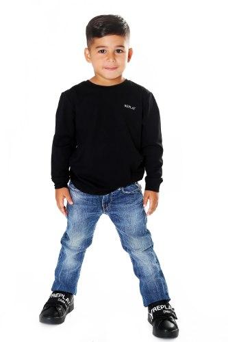 חולצת T שחורה לוגו מובלט REPLAY