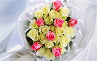 זר פרחים כתום, סגול וורוד