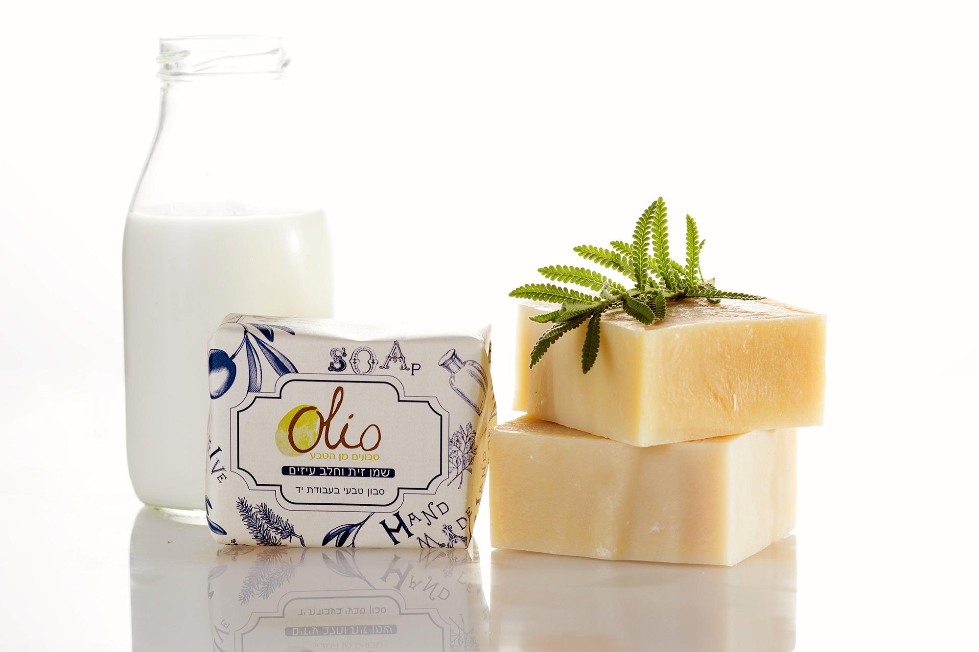 סבון קסטילי חלב עיזים לעור רגיש בריח עדין של לבנדר