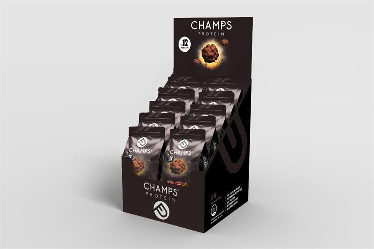 CHAMPS חטיף חלבון-אקסטרא אנרגיה 70% קקאו – טבעוני המארז מכיל 10 יחידות (60 גרם ליח')