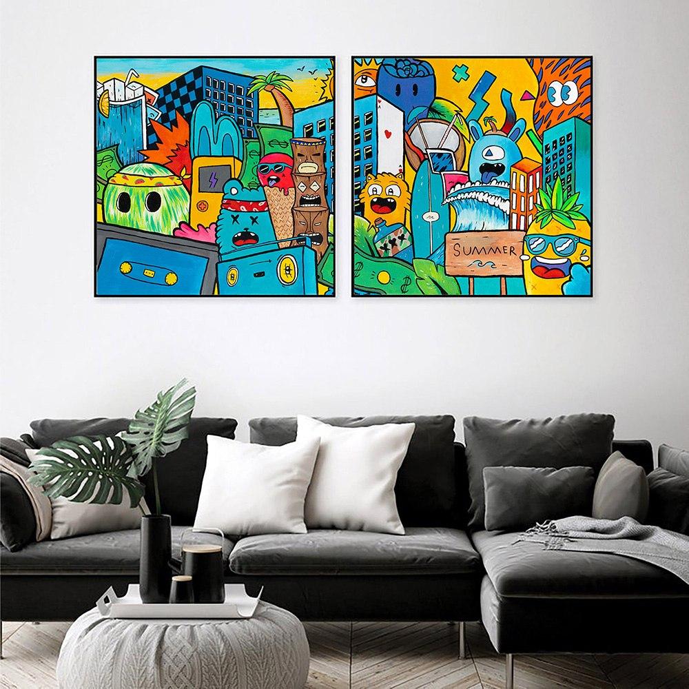 סט ציורי פופ ארט מקורי לסלון של האמן כפיר תג'ר