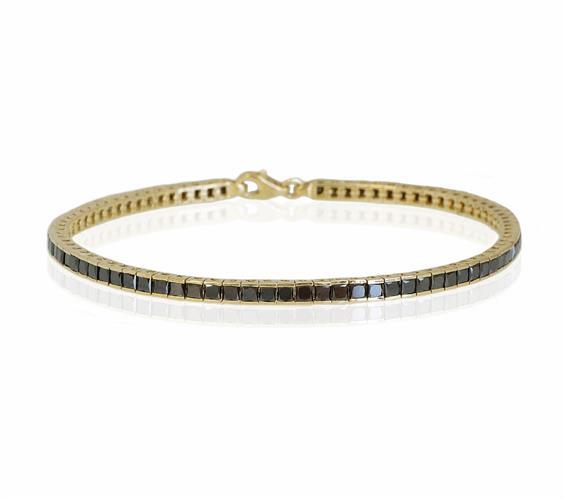 צמיד טניס זהב יהלומים שחורים 5.4 קראט