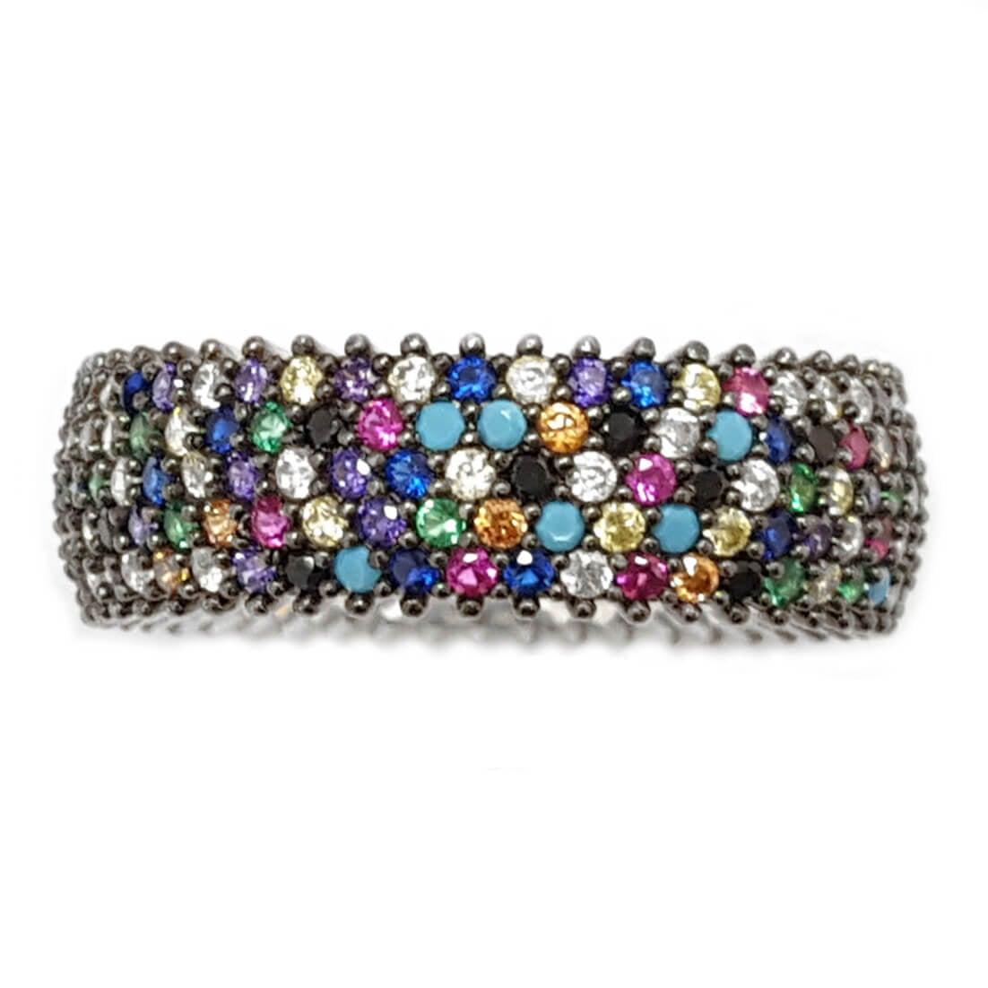 טבעת כסף רחבה משובצת 5 שורות אבני זרקון צבעונית RG5640 | תכשיטי כסף | טבעות כסף
