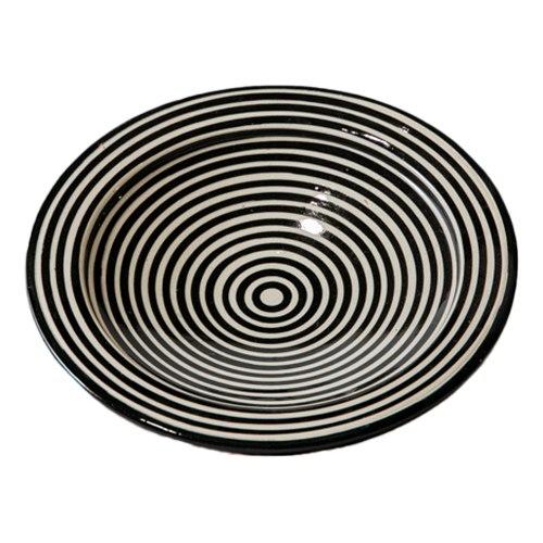 צלחת מצוירת שחור לבן פסים XS