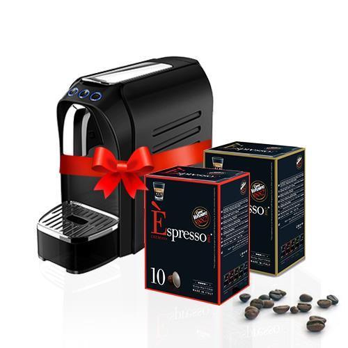 מכונת קפה מדגם זירו + מקציף חלב אוטומטי + 120 קפסולות לבחירה