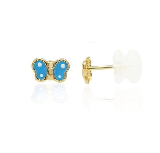 עגילי זהב פרפר אמייל כחול ונקודות לבנות