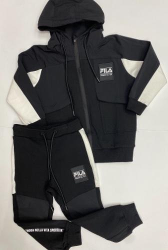 FILA חליפה שחורה שרוול לבן מידות 6-16