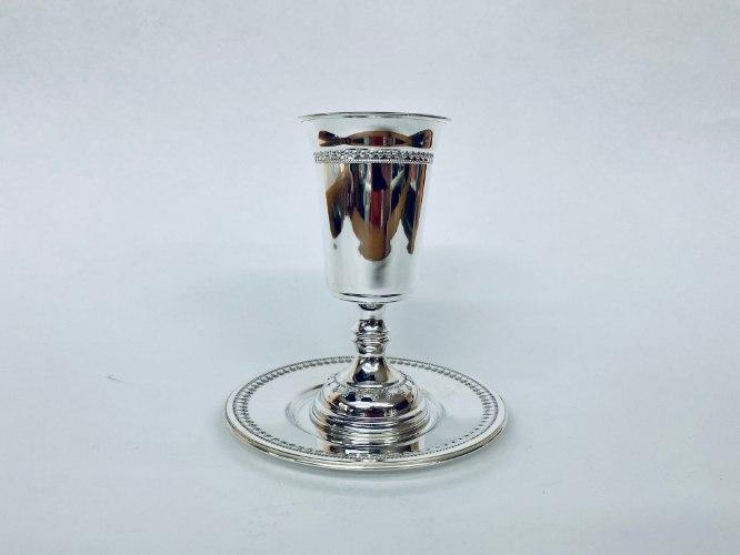 סט גביע וצלחת כסף חדד סטרלינג טהור 925 לקידוש