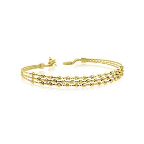 צמיד זהב כדורי לאישה|צמיד קשיח עם שורות כדורים