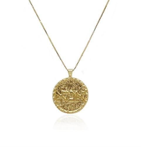 תליון אמא מזהב כתב דפוס|תליון מטבע זהב