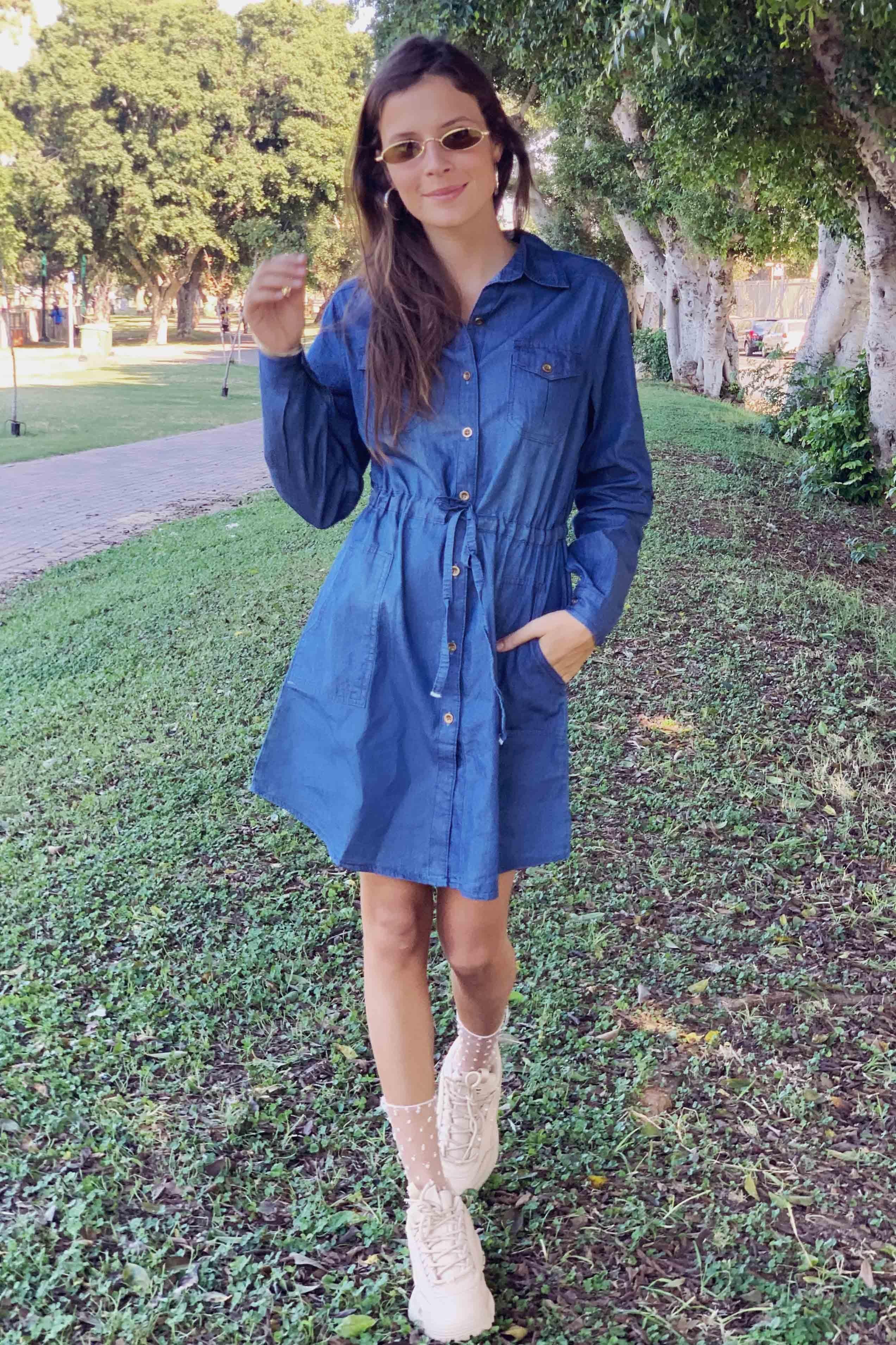 שמלת ג'ינס שרוך קשירה שרוול ארוך