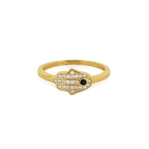 טבעת חמסה זהב 14 קרט משובצת 0.15 קראט יהלומים ואבן חן ספיר