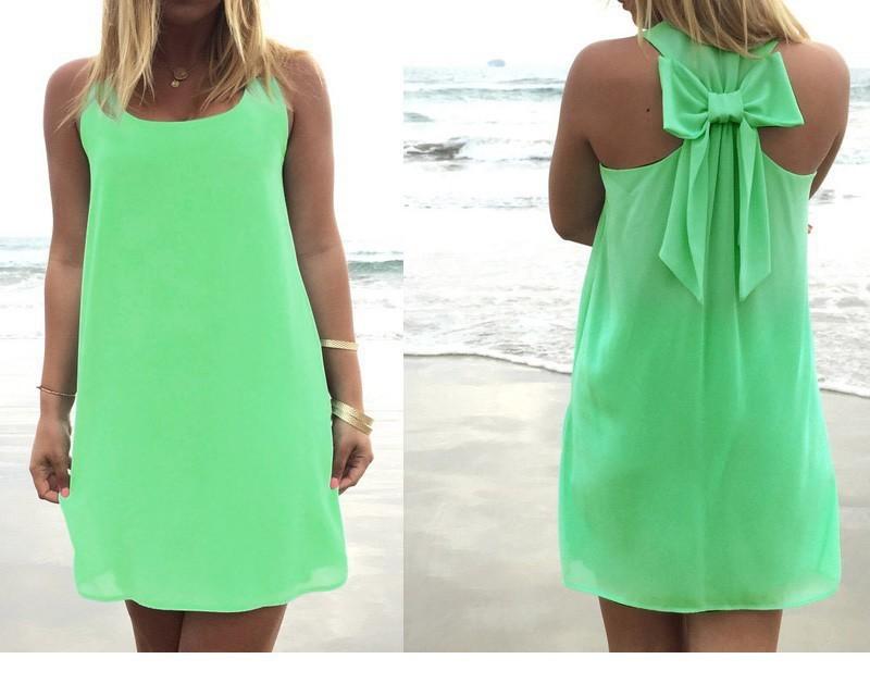 שמלה קייצית ואופנתית פפיון אחורי