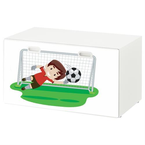טפט דביק מותאם לספסל אחסון לצעצועים (STUVA)- שוער כדורגל