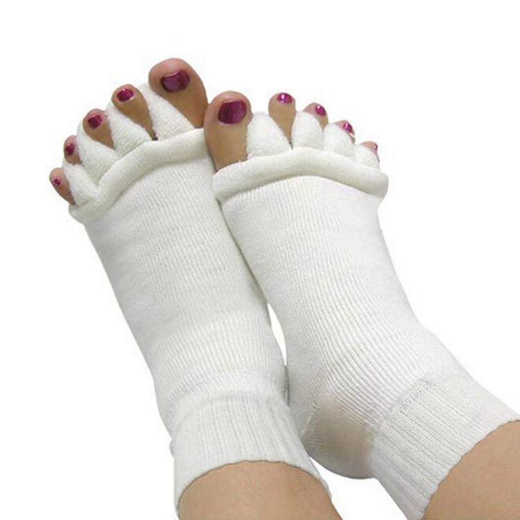 זוג גרביים ספא יוגה ליישור 5 אצבעות כף רגל
