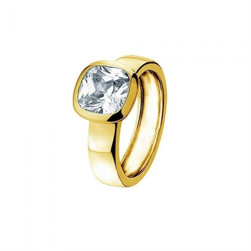 טבעת כסף טהור סטרלינג 925 שיבוץ מרכזי וציפוי זהב צהוב