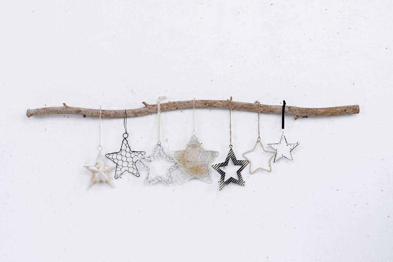 ענף עם 7 כוכבים - לבן וכסוף מושחר